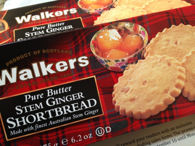 Walkers stem ginger shortbread cookies